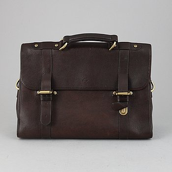 Mulberry, a chocolate brown lerather briefcase.
