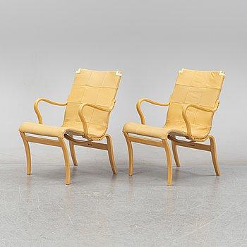 Bruno Mathsson, a pair of 'Mina' easy chairs for Mathsson International.