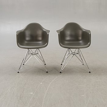 """Charles and Ray Eames, armchairs, a pair, """"Eames plastic chair - DAR"""" for Vitra 2015."""