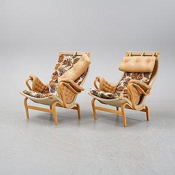 Bruno Mathsson, a pair of 'Pernilla' easy chairs by DUX.