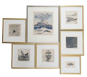 Roland Svensson, seven litographs, signed and numbered.