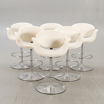 A set of six Tulip leather bar stools by Pierre Paulin for Artifort Netherlands later part of the 20th century.