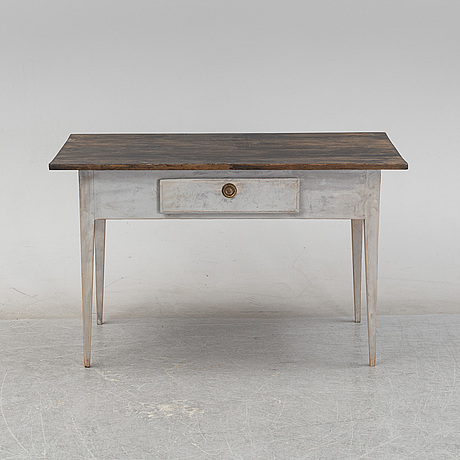 A painted table with av drawer, 19th century.