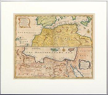 Emanuel Bowen, Mediteranen sea Northern Africa, hand colored copper engraving, London 1744.