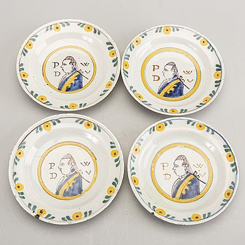 Four small faience plates, 18th Century latter part, Holland.