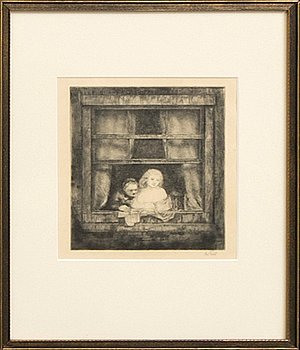 Axel Fridell, drypoint etching, 1930, signed in pencil.