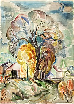 Jules Schyl, water color, signed 1940.
