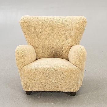A Danish lambskin 1940s armchair.