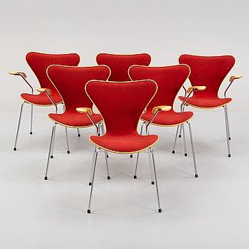 Arne Jacobsen, a set of six 'Sjuan' chairs, Fritz Hansen, Denmark, 1997.