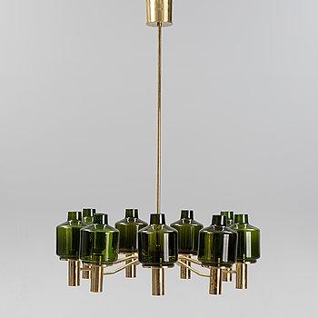 Hans-Agne Jakobsson, a brass and glass 'Patricia' nine-light ceiling light.