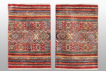 Two Khorjin rugs, ca 125 x 82 and 125 x 84 cm.