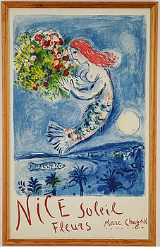 Marc Chagall,  litograph in colours, 1962, printed by Mourlot, Paris, published by Commisariat Géneral au Tourisme.