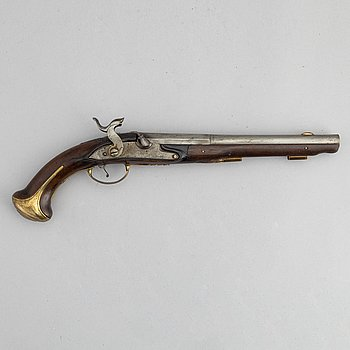 A converted percussion pistol by Sven Ungrot, (1719-95).