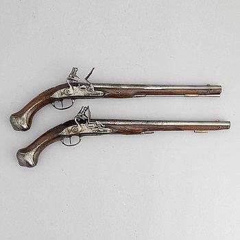 A pair of flintlock pistols signed Francois Talot a Sedan, first half of the 18th Century.
