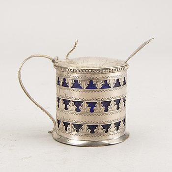 Fridrich Ekström, mustard jug and spoon, silver, Copenhagen ca 1796.