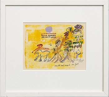 Madeleine Pyk, gouache signed and dated 1973.