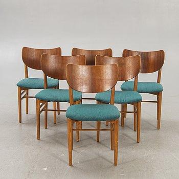 Nils & Eva koppel, a set of six teak chairs.