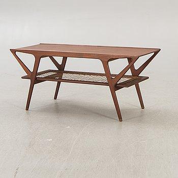 A Danish teak and rattan 1960s coffee table.