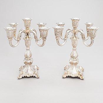 A pair of 5-candle silver candelabra, Auran Kultaseppä, Turku 1970.
