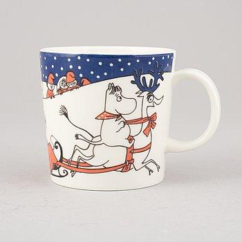 Moomin mug, porcelain, 'Christmas greeting', Finland, 1997-2002.