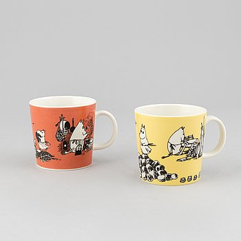 Two porcelain Moomin mugs, Arabia, Finland, 1990-99.