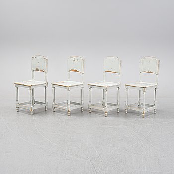 Four painte pine chairs, 19th Century.