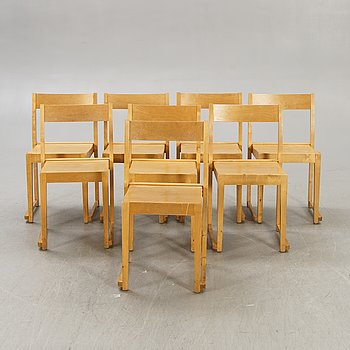 """Sven Markelius, chairs, 8 pcs, """"Orchestra chair"""", mid-20th century."""