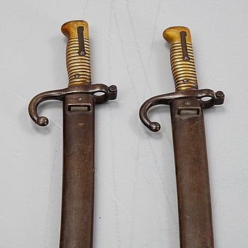 Two french yataghan bayonets 1866 pattern with scabbards.