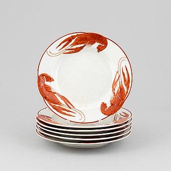 Alf Wallander, a set of six flintware crayfish plates from Rörstrand.
