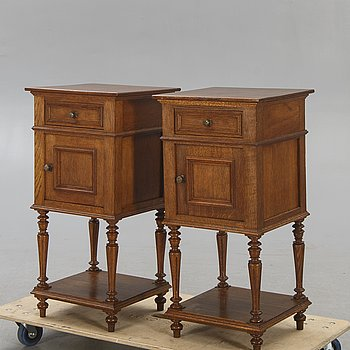 A pair of oak bedside tables first half of the 20th century.