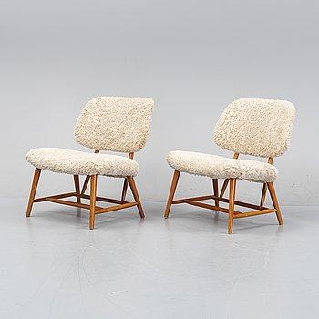 Alf Svensson, a pair of 'TeVe' easy chairs, Bra Bohag, Studio Ljungs Industrier, 1950s.