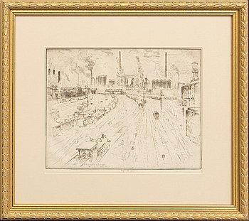 Joseph Pennell, etsning, signerad, 1910.