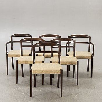 Ole Wanscher, A set of six 1970s chairs for P Jeppesen Denmark.