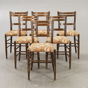 A set of six early 1900s chairs.
