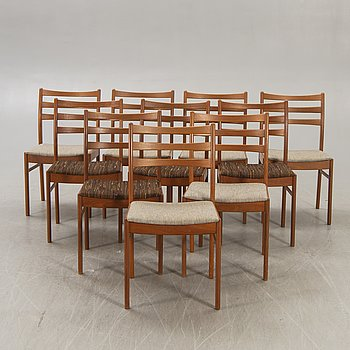 A set of 10 1960s chairs from NC Valdemarsvik.