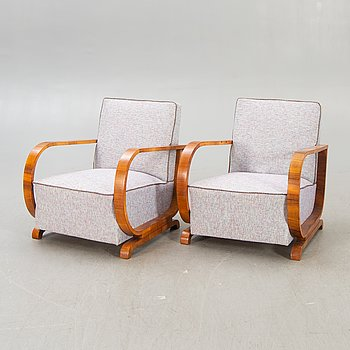 A pair of Art Deco armchairs first half of the 20th century.