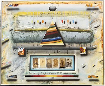 Jörgen Waring, oil/collage on paper signed and dated 86.