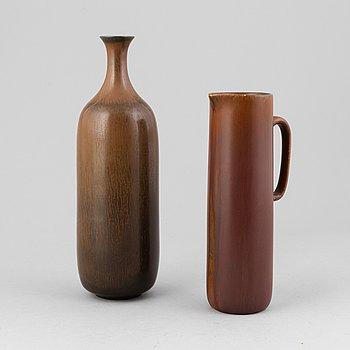 Gunnar Nylund, a stoneware vase and a jug, Rörstrand 1950-60s.