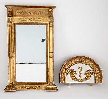 An Swedish Empire mirror, first half of the 19th century, attributed to Petter Gustaf Bylander, (Gothenburg 1802-59).