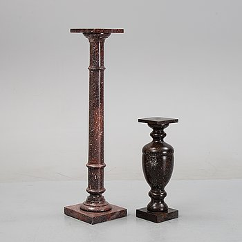 Two painted wood pedestals, 20th Century.