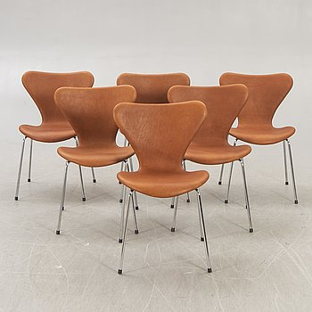 "Arne Jacobsen, chairs 6 ""Seven"" for Fritz Hansen Denmark second half of the 20th century."