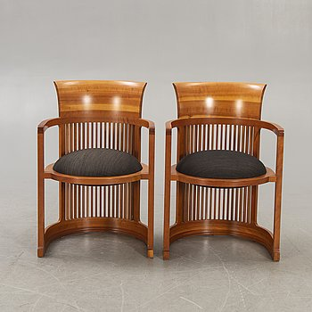 """Frank Lloyd Wright, a cherry tree armchairs a pair, model number 606 """"Barrel"""", Cassina."""