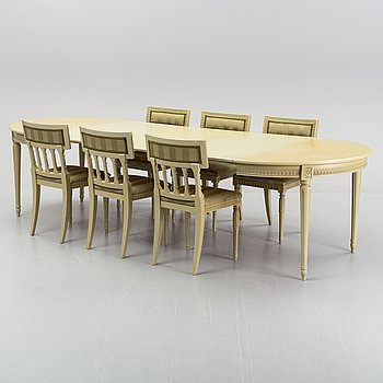 A Gustavian style dining table and six chairs, Åmells, late 20th Century.