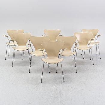 "Arne Jacobsen, armchairs, 8 pcs, ""Sjuan"", Fritz Hansen 2002."