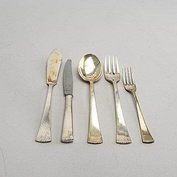 A Swedish 20th century set of 53 pcs of silver cutlery mark of CG Hallberg Stockhom 1960s, totla weight 2560 gr.