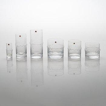 """Tapio Wirkkala, A 73-piece set of """"Niva"""" glassware, Iittala, Finland 1970s."""