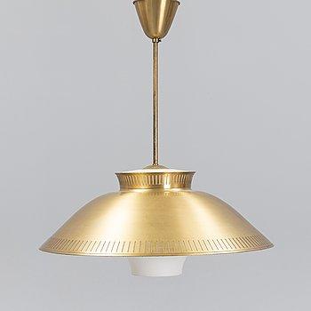 A Scandinavian 1950's/60's brass and glass ceiling light.