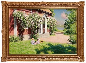 62. JOHAN KROUTHÉN, Barn på solig trädgårdstäppa.
