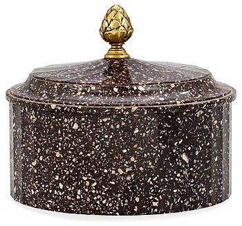 1087. A Swedish Empire porphyry butter box.