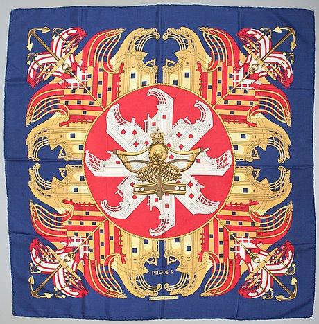 """A hermès silk scarf """"proues""""."""